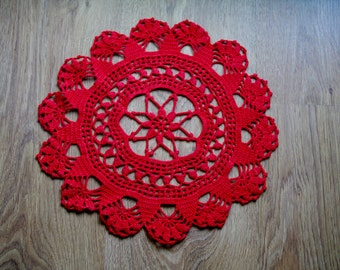 Vintage Cotton Crocheted Doily, Polish Hand made Red Doily, Lacework, lace, Crochet Doily, Shabby Chic, Made in Poland, Polish folk art 80's