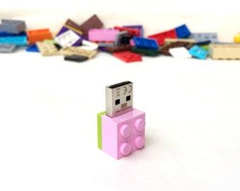 Lego usb flash drive 8GB USB - Lego® original usb Brick - Lego® 2x2 Brick - Lego® usb in original piece - Pink lime brick usb -Original Lego