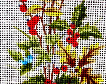 """NEEDLEPOINT KITS.//""""Hollies"""" a Chrstmas Bouquet with Hollies,  Representing the Month of November. //On Special!!"""