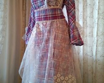 Lilac romantic dress/lilac bridesmaid dress/lilac festival dress/violet plaid dress/altered couture/art to wear/country violet dress