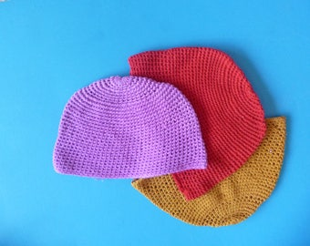 Vintage Skull Cap Cotton Boho Summer Crocheted Hats Made in Guatemala
