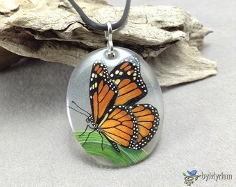 Larger Monarch butterfly pendant - hand drawn on clear background, sterling silver bail . Butterfly necklace . Butterfly on blade of grass