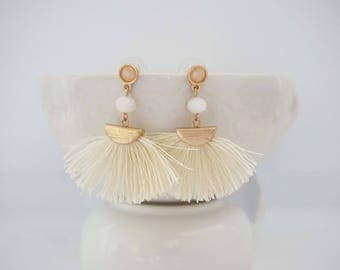 Cream and Gold Fan Tassel Earrings