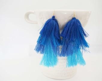 Dark Blue Ombre Tassel Statement Earrings