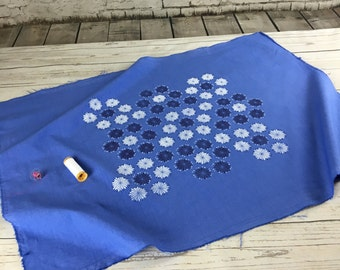 Light weight Blue cotton, with flowers, Kilberry cotton fabric periwinkle blue with hand printed flowers design in white and dark blue