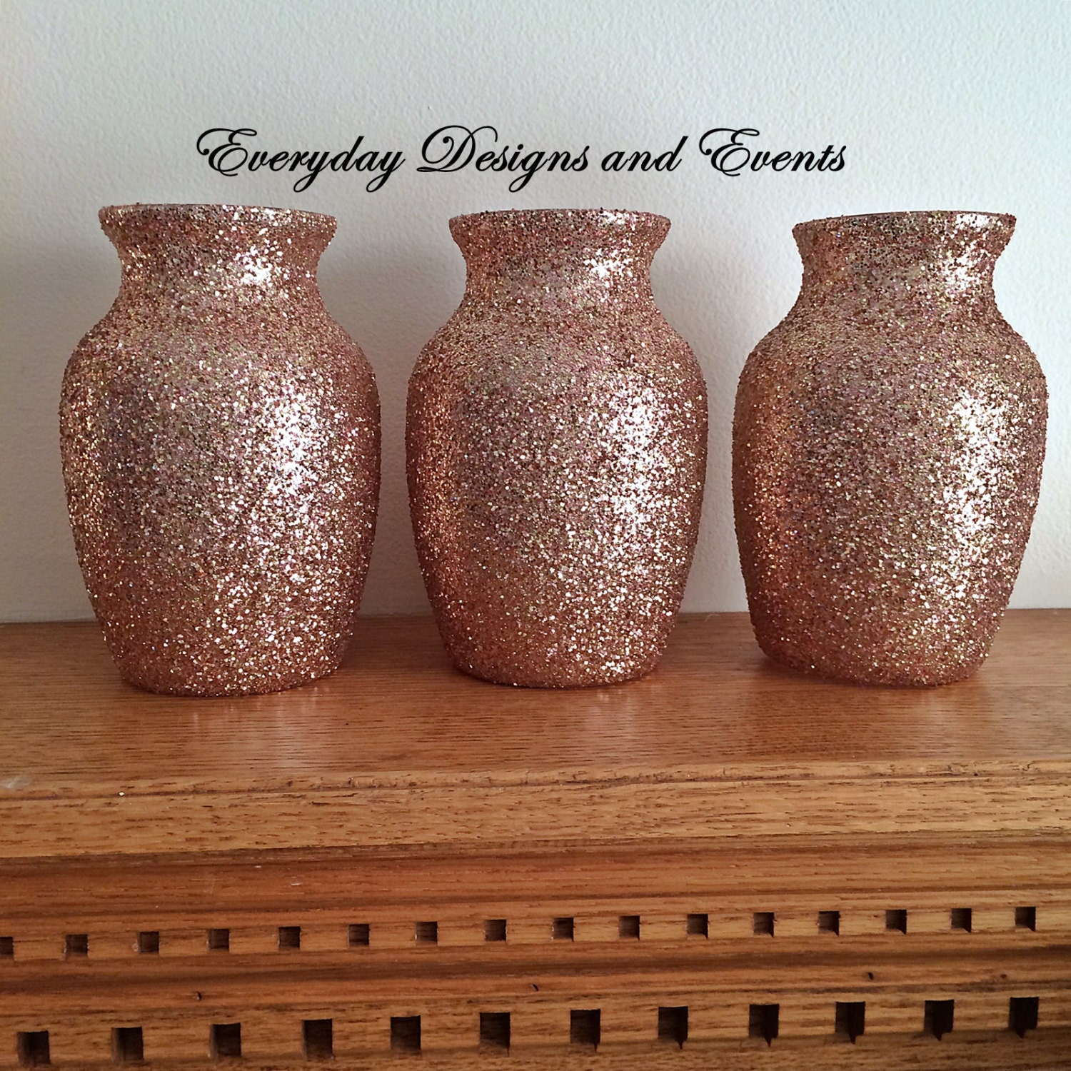 3 rose gold vases baby shower decors rose gold rose gold for Decoration rose gold