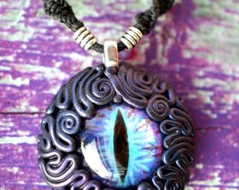 PurpleBlue Dragon Eye Pendant-dragoneye jewelry fantasy necklace witchy necklace dragon power witchy mythical spooky clay art fairy jewelry