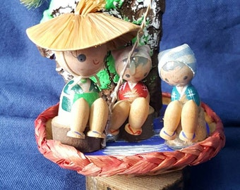 On Sale! Vintage Kokeshi Doll Father teaching his two kids how to fish