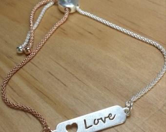 Love two toned slider bracelet