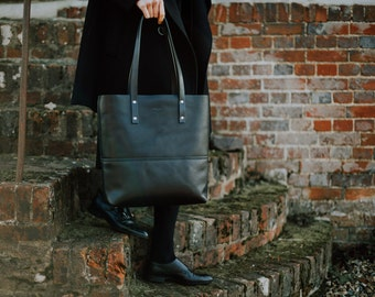 Black Leather Tote Bag - Handmade Leather Shopper - Everyday Bag - Carryall - Laptop Bag - Gift for Her - Gift for Him | by BLUE & GRAE
