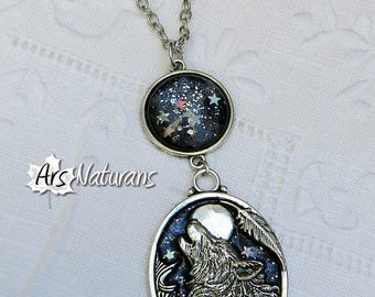 FENRIR Wolf Night Blue Stars 3D Iridescent Silver Pendant Necklace