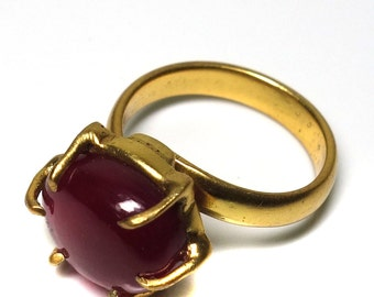 Gold ruby ring!! , 14 Karat gold plated created ruby ring, gold plated ring, Red color ring, adjustable ring
