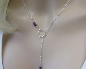 Amethyst Lariat Necklace, Amethyst Infinity Necklace, Sterling Silver, February Birthstone, Amethyst Gemstone Jewelry, Purple Necklace