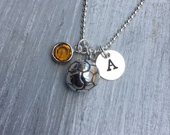 Soccer Necklace Soccer Jewelry Birthstone Jewelry Sterling Silver Soccer Player Gift Soccer Team Coach Gift Soccer Ball Soccer Mom