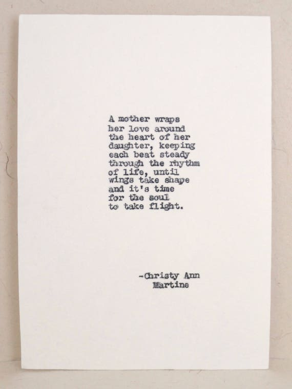 Gift for Mom from Daughter - Birthday Gift for Mother - Mother's Love Poem Typed By Poet with Vintage Typewriter