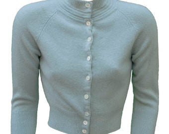 50s Small Cashmere Cardigan Sweater Powder Blue Soft Mock Turtleneck Rockabilly Pinup Preppy Grease Mod Pastel High Collar Lolita Doll Baby