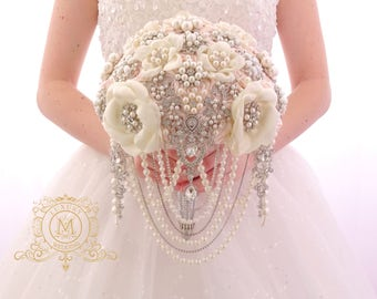 Blush pink Cascading ivory or white brooch bouquet, glamour princess broach wedding boquet for bride.