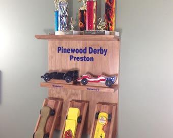Pinewood, Derby Car Display, Wall Shelf, CubScout Derby Shelf, Five Car and Trophy Shelf-WD31