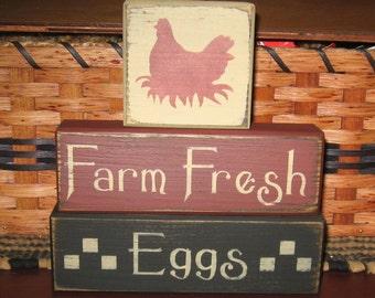 Primitive Farm Fresh Eggs 3pc Block Set