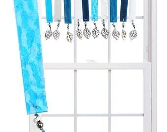 OCEAN WAVES (Aqua) Stained Glass Valance Suncatcher - Aqua, blue, silver (OWA)