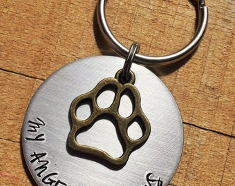 Pet Loss Gift - Pet Memorial Gift - Loss of a Dog - My Angel Has Paws - Pet Loss Keychain - Dog Memorial - Dog Loss Keyring - In Memory Dog