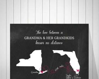 Grandma Long Distance Map Print Chalkboard Map Art Print Two States Map Gift for Grandma Birthday Best Friend Long Distance Map - 60577