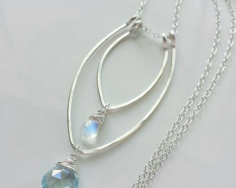 White Moonstone Necklace, Sterling Silver Necklace, Blue Topaz Necklace, Topaz Necklace, Unique Handcrafted Necklace