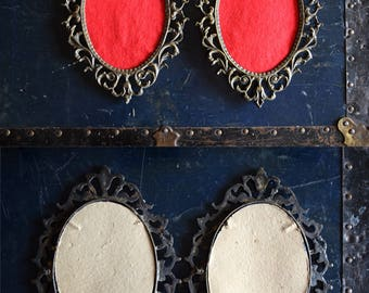 Ornate Brass Frames - Set of 2 - Art Deco Inspired - Red Felt - Made in Italy
