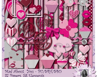 Mad About You, Valentine, Anniversary, Digital Scrapbooking kit, digiscrap, scrapbook, paper crafting, card making, page kit, valentines day