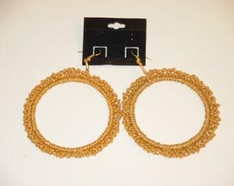 Crochet Hoop Earrings -Gold