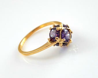 9k Solid Gold delicate ring, gold amethyst ring, thin ring gift for women  minimalist jewelry multistone gemstone ring