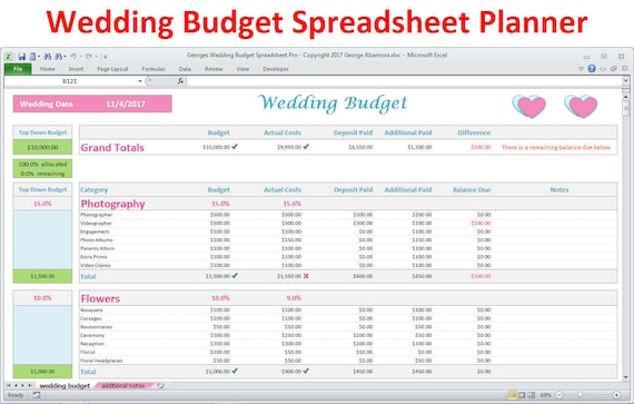 Wedding Budget Spreadsheet Wedding Planner Excel Budget