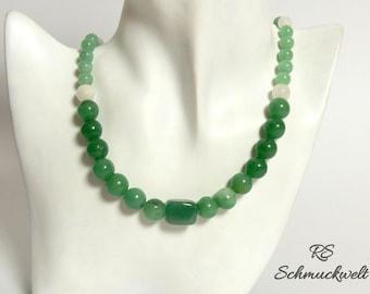 Agate Aventurine gemstone necklace green white Milky quartz gemstone beads matte polished