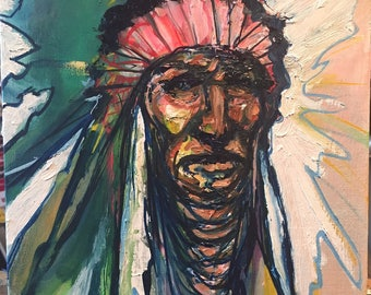 Modern Art Impressionist Indian Chief Warrior Original Painting
