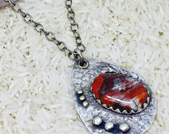 Crazylace agate brass bohemian, ethnic, tribal necklaces pendant.Nickle free sterling silver plated. Chain included.