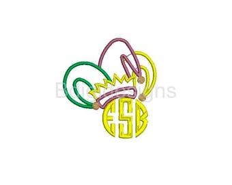 Mardi Gras Jester Hat Monogram Topper Applique Embroidery Design