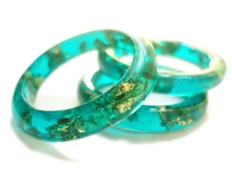 Teal Resinand Gold Flake Ring - Tinted Resin with Gold Flakes - Natural Jewelry - Gold Flake - Made to Order - ValenwoodVixen