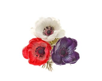 Stemple's Anemones -  Real Touch Artificial Anemones - Available in Red, White and Dark Purple