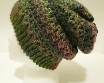 Crochet Soft Slouchy Hat in Green and Pink