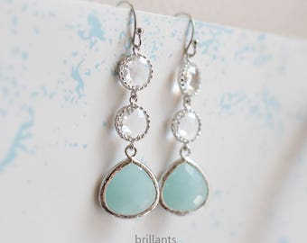 Alice blue and Clear stone earrings in silver, Mint, Bridesmaid earrings, Wedding earrings, Bridesmaid gift