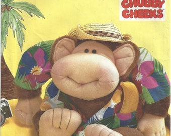 Vintage 80s Simplicity Crafts 7415 Sewing Pattern for Waikiki Willie Chubby Cheeks Monkey Stuffed Animal Toy Uncut