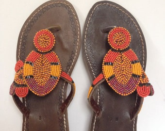 Hand Made Leather Sandals - Beaded Strap 10