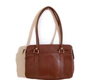 SALE Vintage Brown Leather Handbag BOHO purse brown leather purse 1970s bag