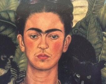 Frida Kahlo-Frida-Self-Portrait-Vintage Postcard-Necklace of Thorns-Monkey-Cat-Art-Home decor