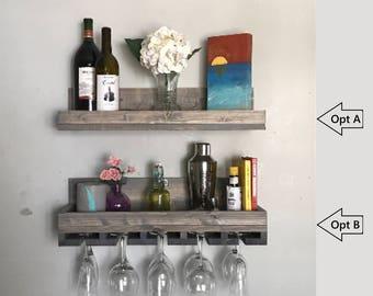 "24"" Classic Grey Wood Wine Rack Shelf & Glass Holder Organizer Unique"