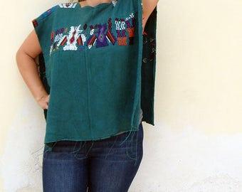 Guatemalan Poncho from Nahuala  village   Vintage Hand Woven Huipil   Ethnic Clothing