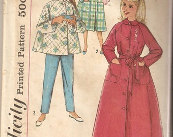 VINTAGE Simplicity Sewing Pattern 2755 - Children's Sleepwear - Girl's Pajamas and Robe, Size 8