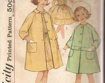 VINTAGE Simplicity Sewing Pattern 4875 - Children's Clothes - Girl's One-Piece Dress and Coat, Size 12