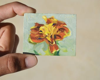 MARIGOLD / Original Oil Painting / Tiny Painting Magnet