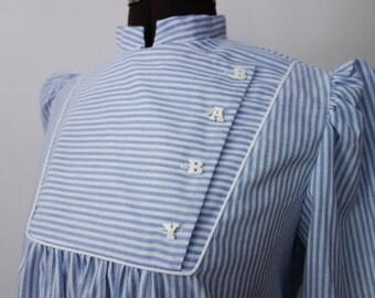 """1980s striped cotton top billowy loose flowy maternity """"BABY"""" buttons cute mommy shirt Dirty Dancing novelty blouse pinstriped cotton XS-L"""